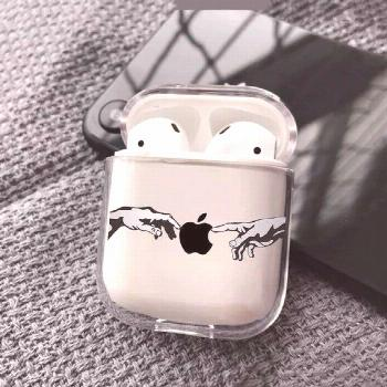 AirPods Case The Creation Of Adam case Hands AirPods case apple logo AirPods Clear Case michelangel