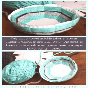 Create this woven bowl using the free printable template, a paper plate, & yarn. This is a great el