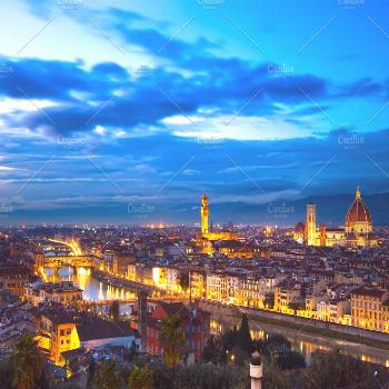 Florence sunset view. Italy. |  Stock Photo | © StevanZZ | @stevanzzphoto | Creative Market