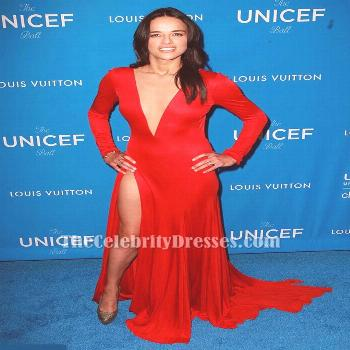 Michelle Rodriguez Red Long Sleeves Deep V Backless Evening Prom Gown UNICEF Bash 2016 TCD6744