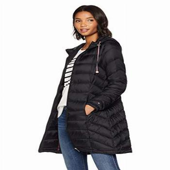 Tommy Hilfiger Women's Mid Length Chevron Quilted Packable