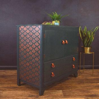 VINTAGE LEBUS MID Century Modern painted tallboy/ cabinet/ drawers+ DELIVERY - £425.00. Gorgeous m