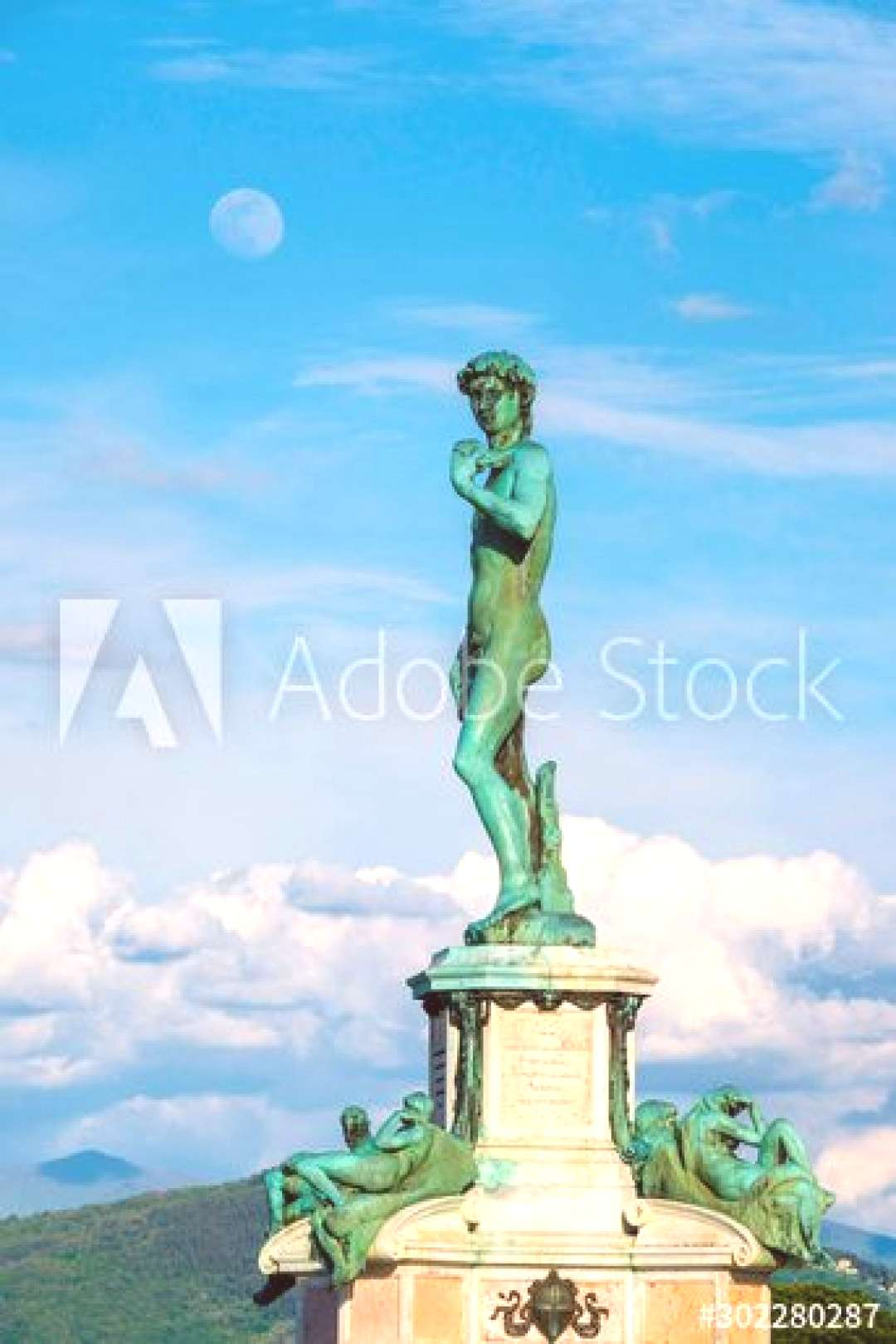Bronze cast of David by the Italian artist Michelangelo at the center of Piazzale Michelangelo, Flo