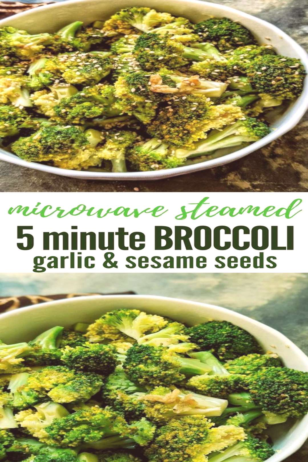 Easy 5-minute recipe for Microwave steamed broccoli with garlic and sesame seeds and ideas for 5 qu