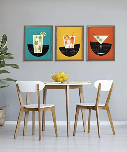 Kate and Laurel Blake Martini Framed Printed Glass Art by