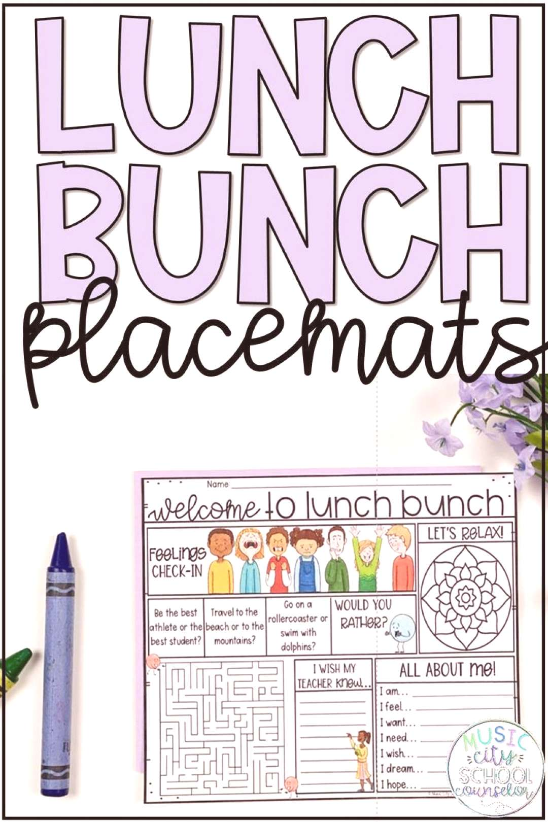 Lunch Bunch amp Lunch with the Teacher Placemats