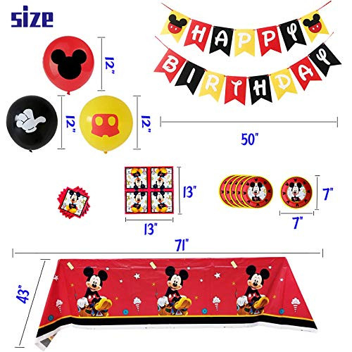 Mickey Mouse Birthday Party Supplies Decorations Include