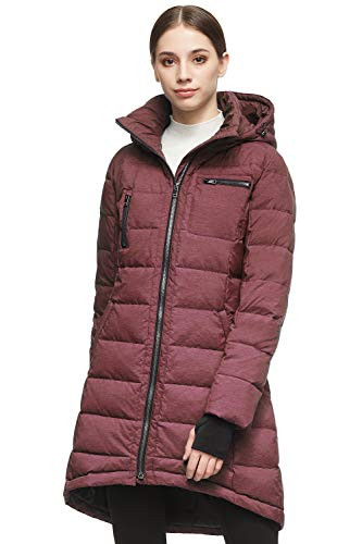 Orolay Womens Down Jacket Coat Mid-Length WineRed S