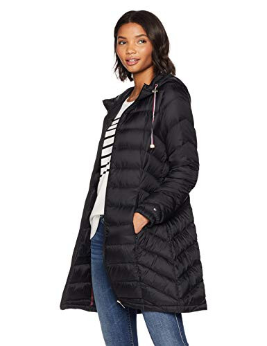 Tommy Hilfiger Womens Mid Length Chevron Quilted Packable